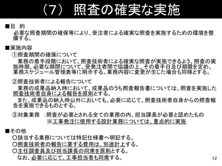 (7) 照査の確実な実施