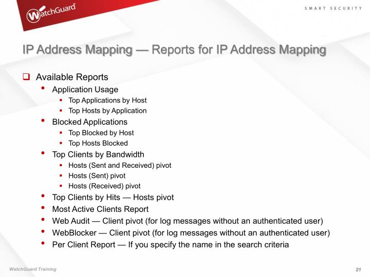 IP Address Mapping — Reports for IP Address Mapping