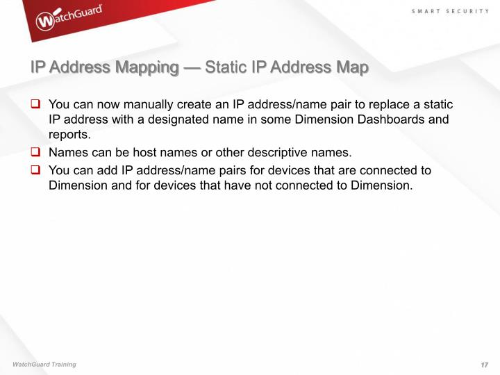 IP Address Mapping — Static IP Address Map