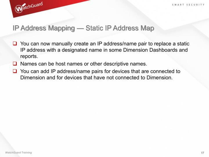 IP Address Mapping — Static IP Address Map