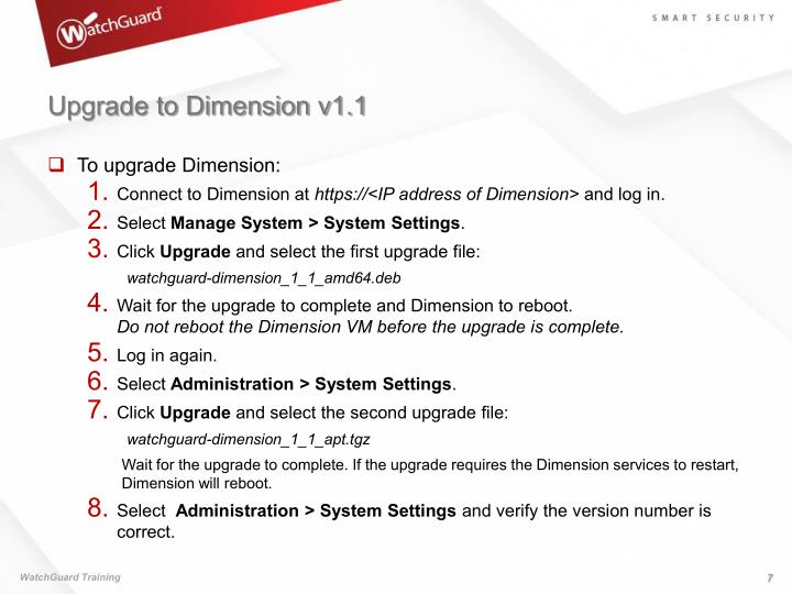Upgrade to Dimension v1.1