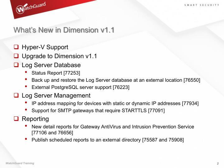 What's New in Dimension v1.1