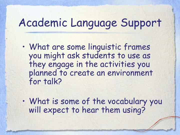 Academic Language Support
