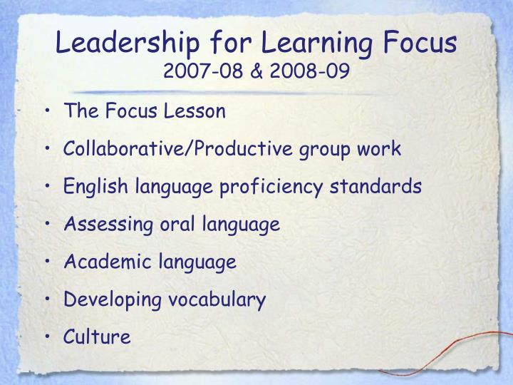 Leadership for Learning Focus