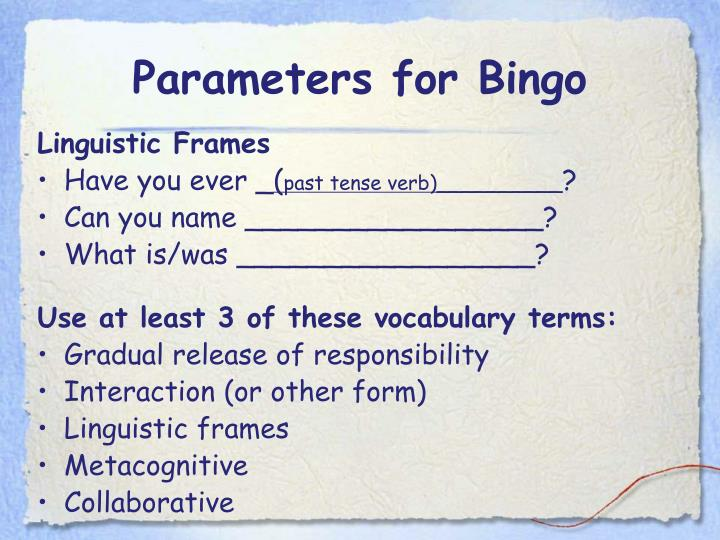 Parameters for Bingo