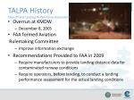 talpa history take off and landing performance assessment