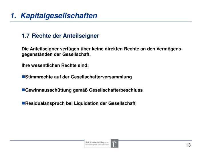 1.  Kapitalgesellschaften