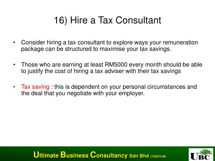 16) Hire a Tax Consultant