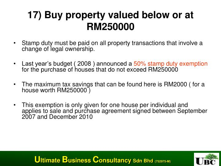 17) Buy property valued below or at RM250000