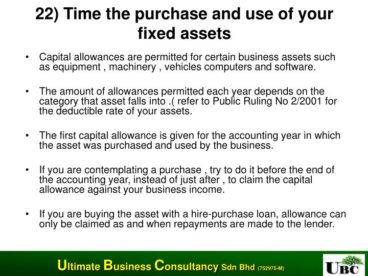 22) Time the purchase and use of your fixed assets