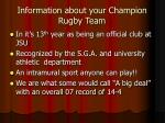information about your champion rugby team