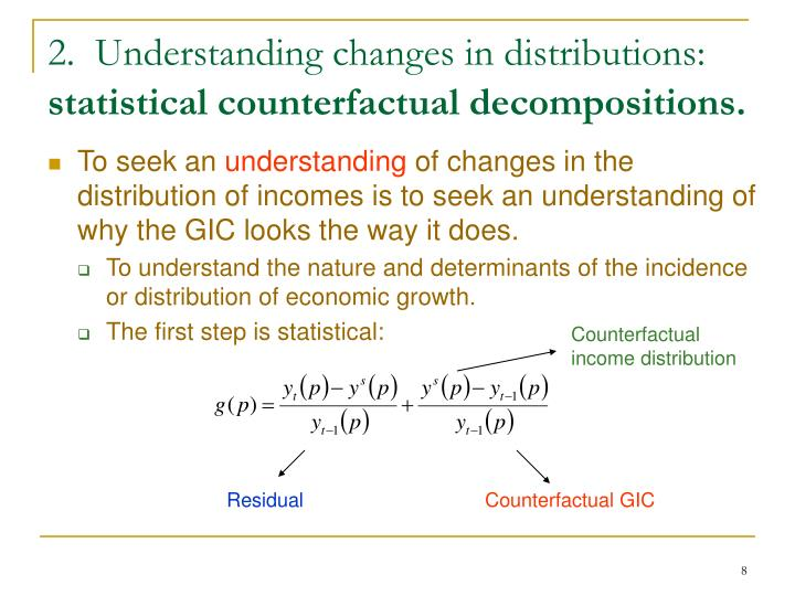 2.  Understanding changes in distributions: