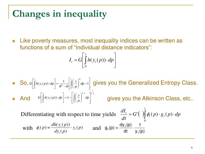 Changes in inequality