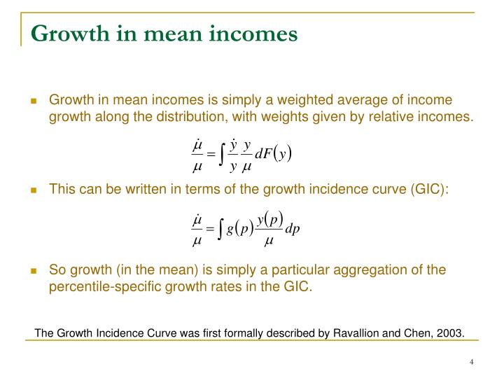 Growth in mean incomes