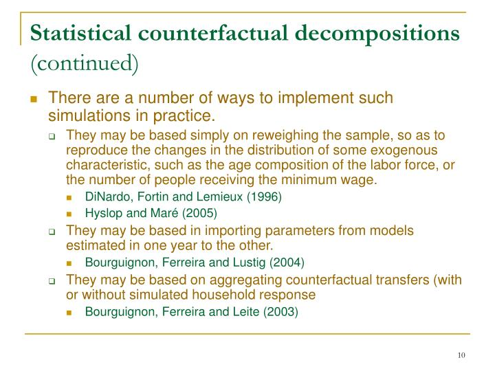 Statistical counterfactual decompositions