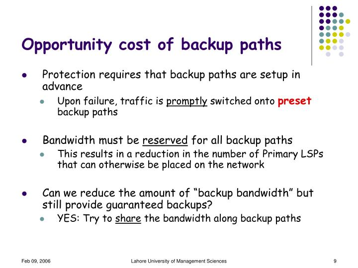 Opportunity cost of backup paths