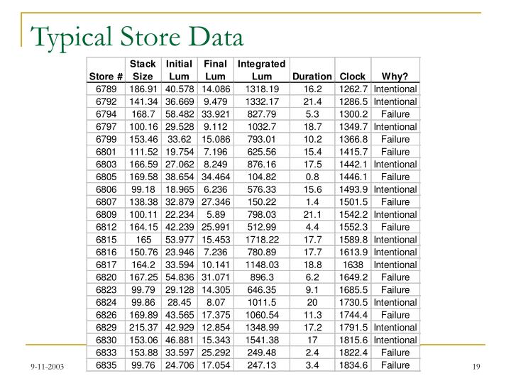Typical Store Data