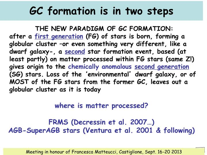 GC formation is in two steps