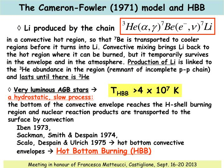 The Cameron-Fowler (1971) model and HBB