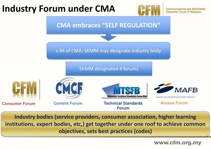 Industry Forum under CMA