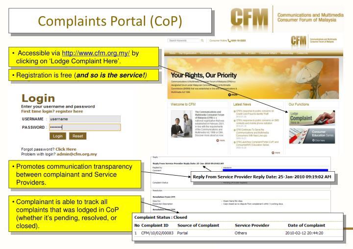 Complaints Portal (CoP)