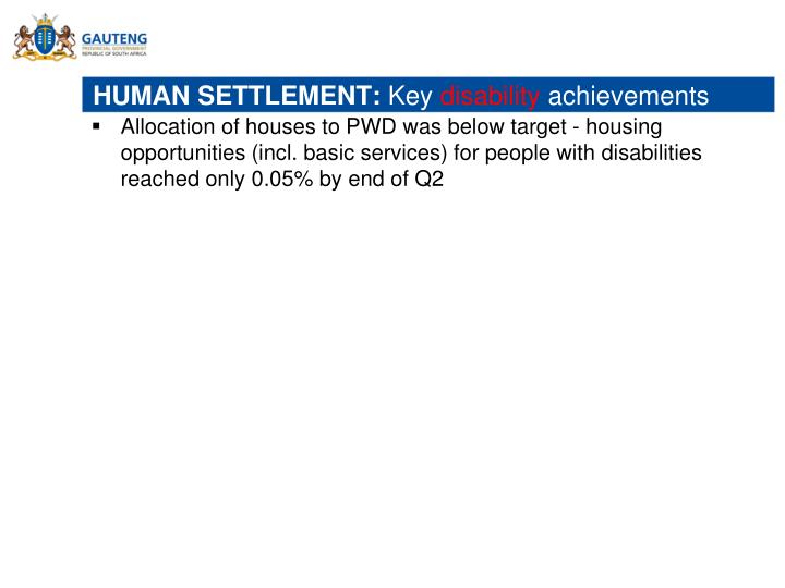 HUMAN SETTLEMENT: