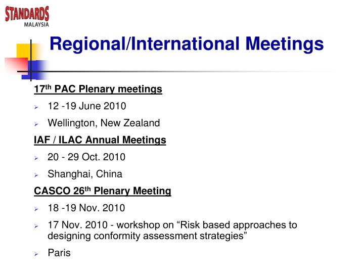 Regional/International Meetings