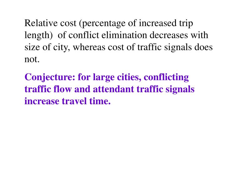 Relative cost (percentage of increased trip length)  of conflict elimination decreases with size of city, whereas cost of traffic signals does not.