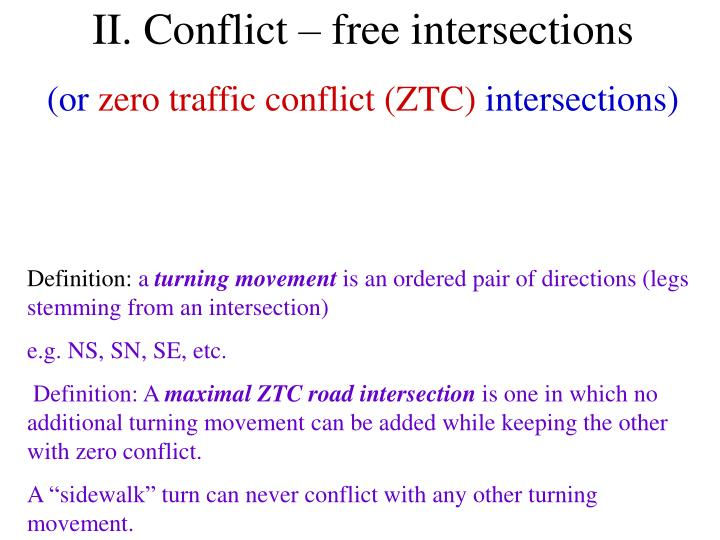 II. Conflict – free intersections