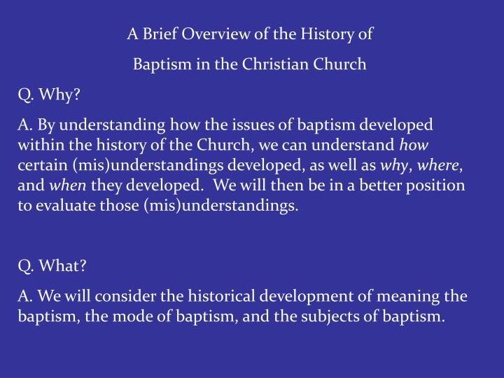 A Brief Overview of the History of