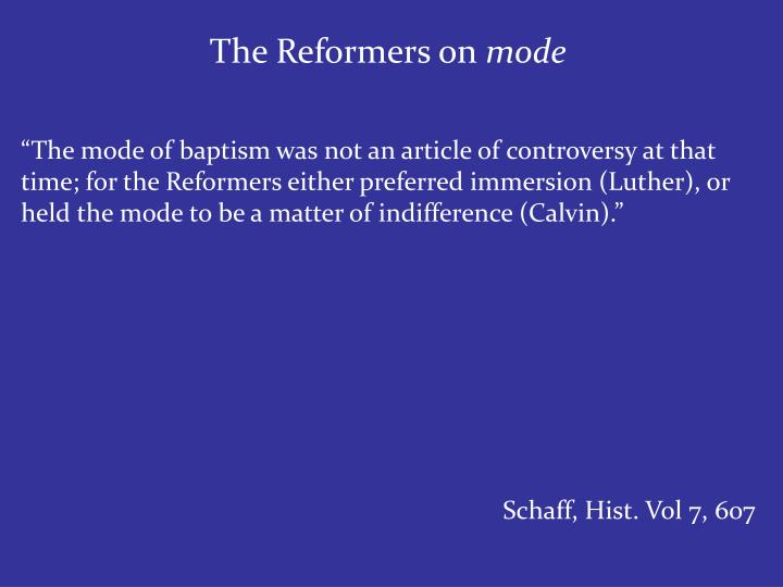 The Reformers on