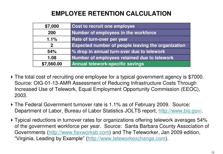 The total cost of recruiting one employee for a typical government agency is $7000.  Source: OIG-01-13-AMR Assessment of Reducing Infrastructure Costs Through Increased Use of Telework, Equal Employment Opportunity Commission (EEOC), 2003.