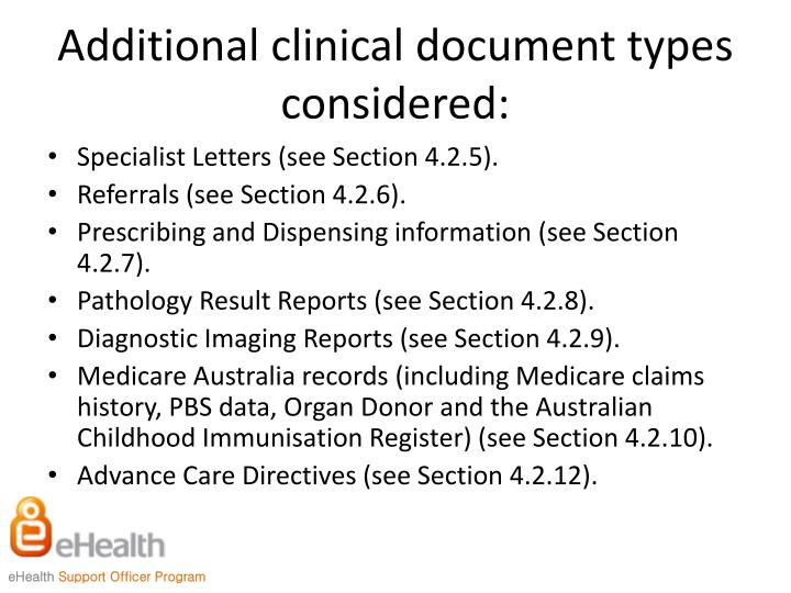 Additional clinical document types considered: