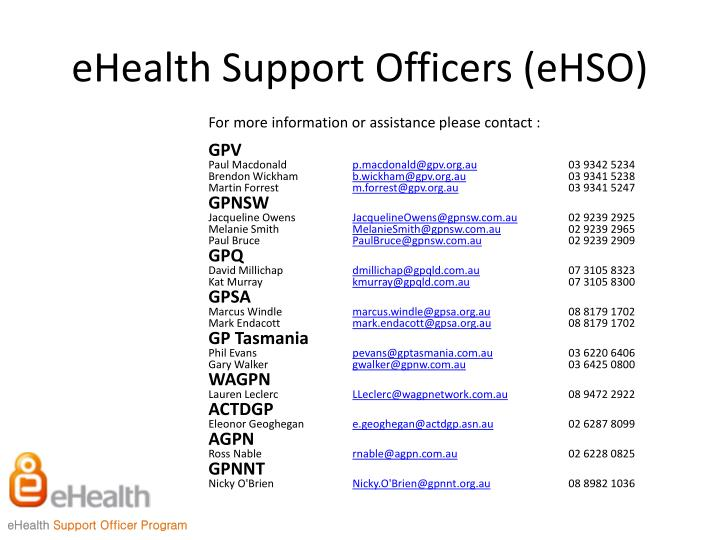 eHealth Support Officers (eHSO)