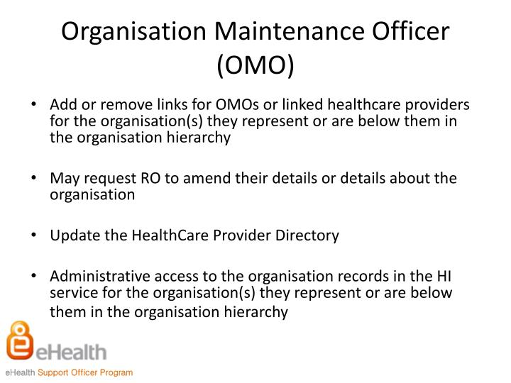 Organisation Maintenance Officer (OMO)