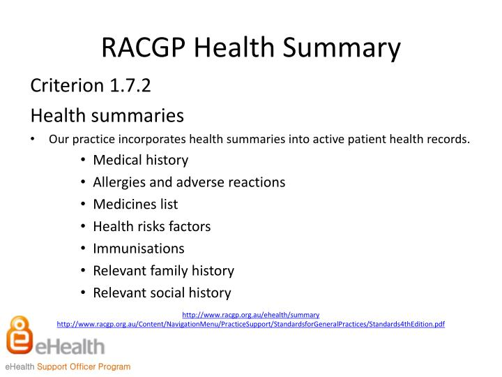 RACGP Health Summary
