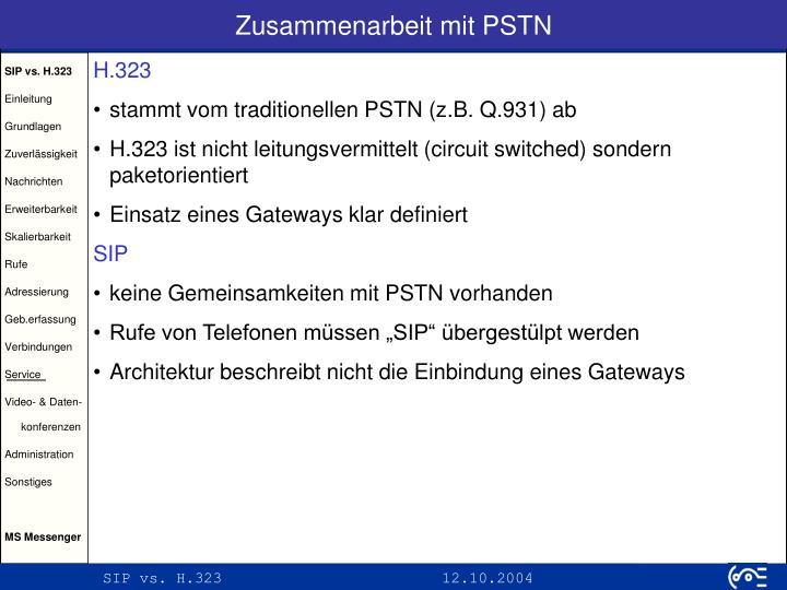 Zusammenarbeit mit PSTN