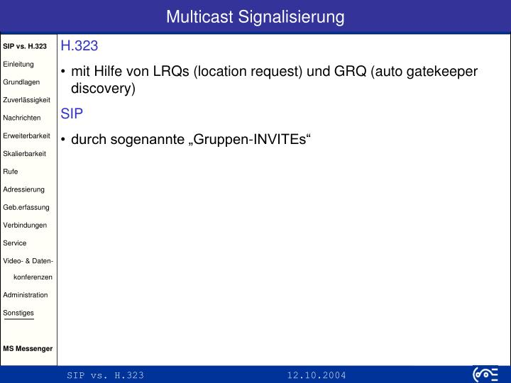 Multicast Signalisierung