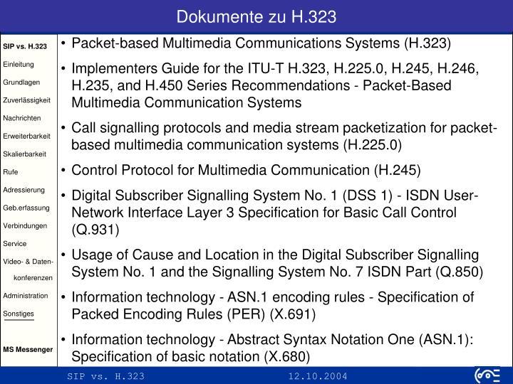 Dokumente zu H.323
