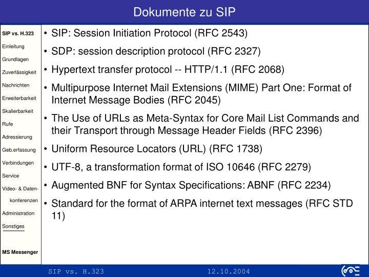 Dokumente zu SIP