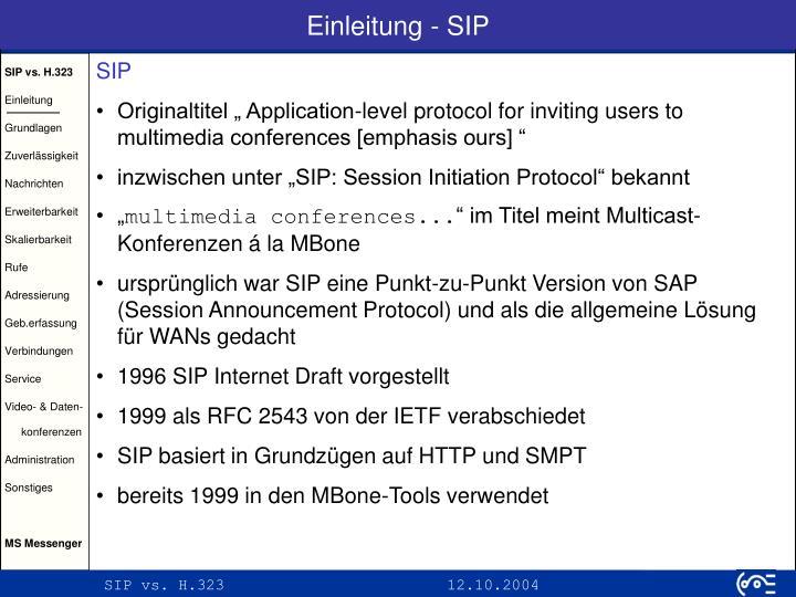 Einleitung - SIP