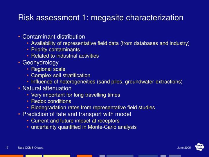 Risk assessment 1: megasite characterization