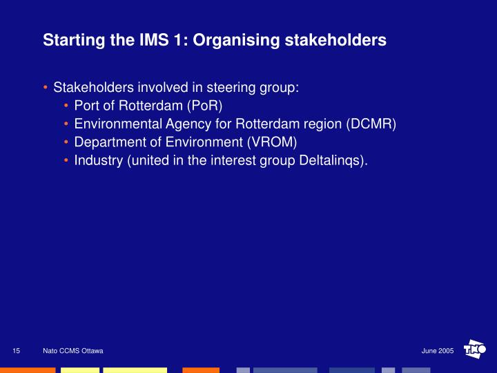 Starting the IMS 1: Organising stakeholders