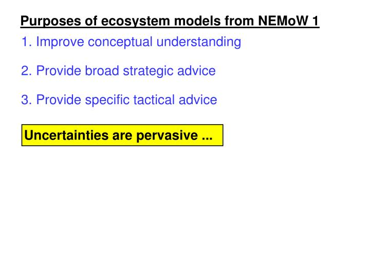 Purposes of ecosystem models from NEMoW 1