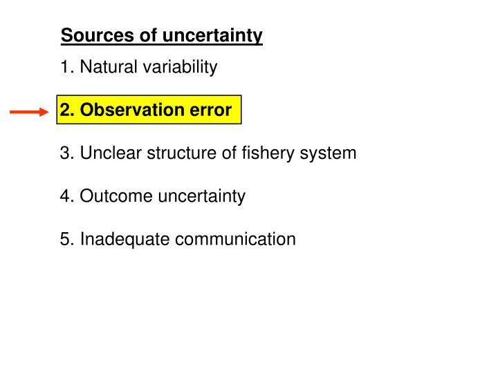 Sources of uncertainty