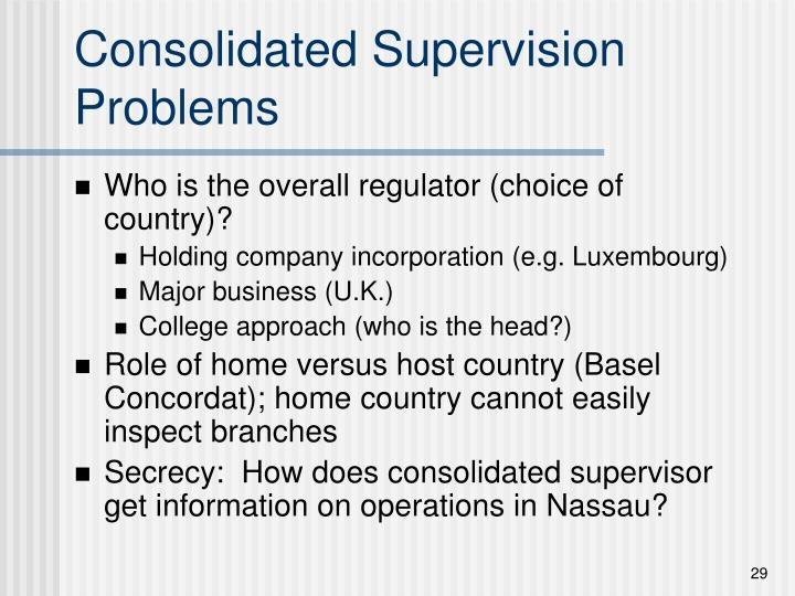 Consolidated Supervision Problems