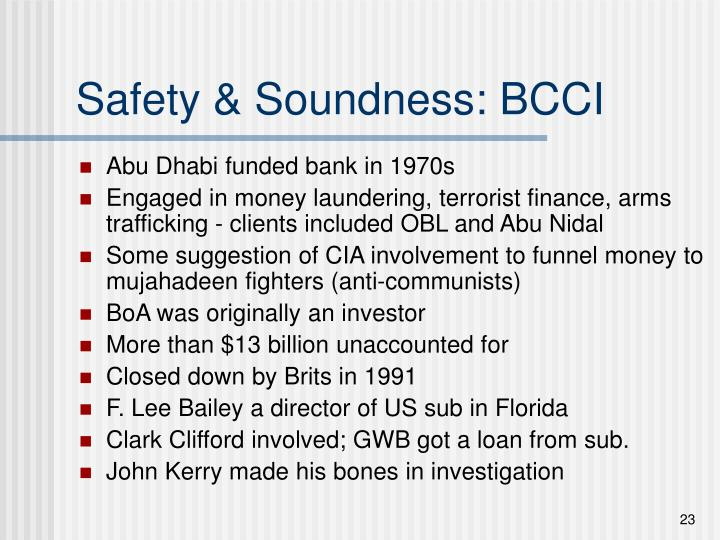 Safety & Soundness: BCCI