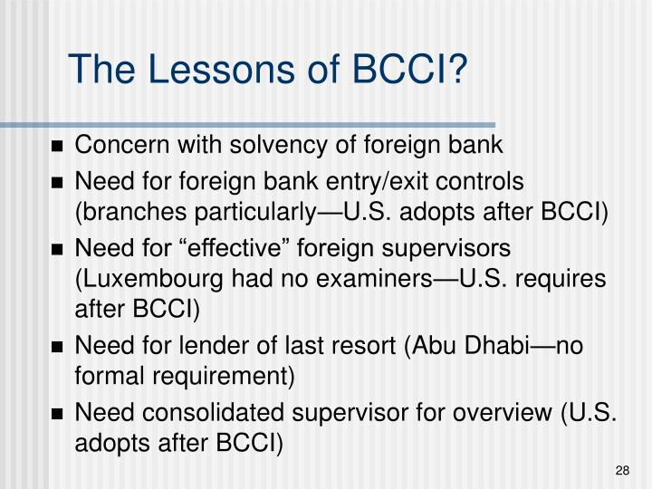 The Lessons of BCCI?