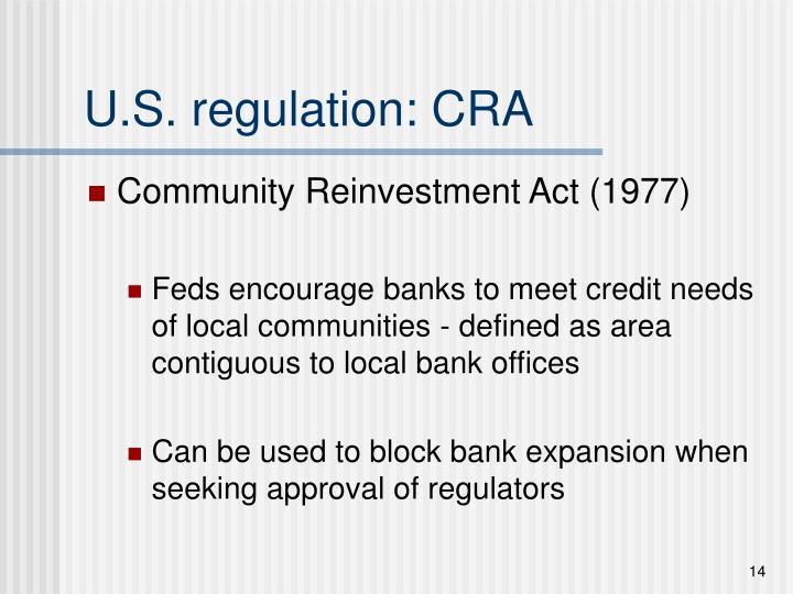 U.S. regulation: CRA
