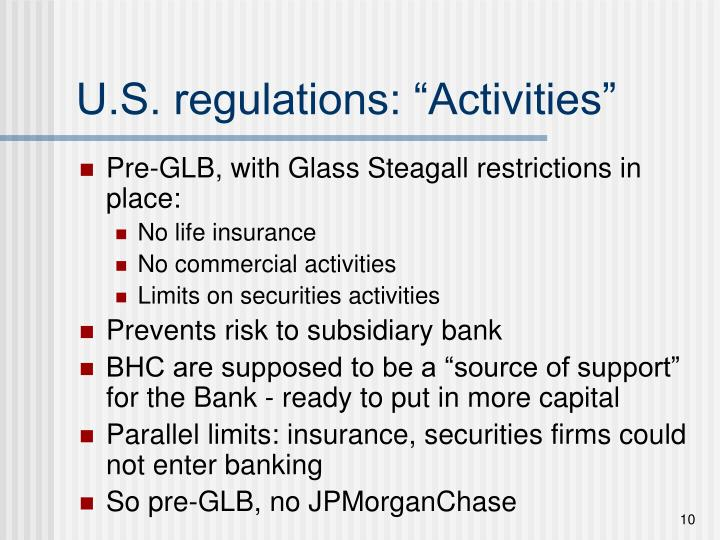"U.S. regulations: ""Activities"""